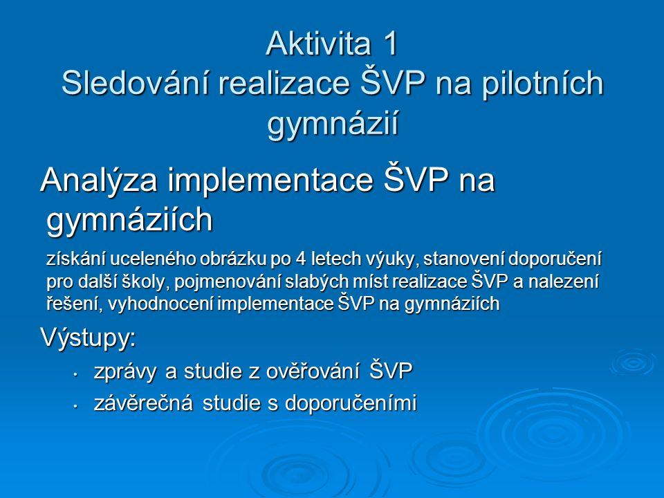 Aktivita 1 Sledování realizace ŠVP na pilotních gymnázií Analýza implementace ŠVP na gymnáziích získání uceleného obrázku po 4 letech výuky, stanovení