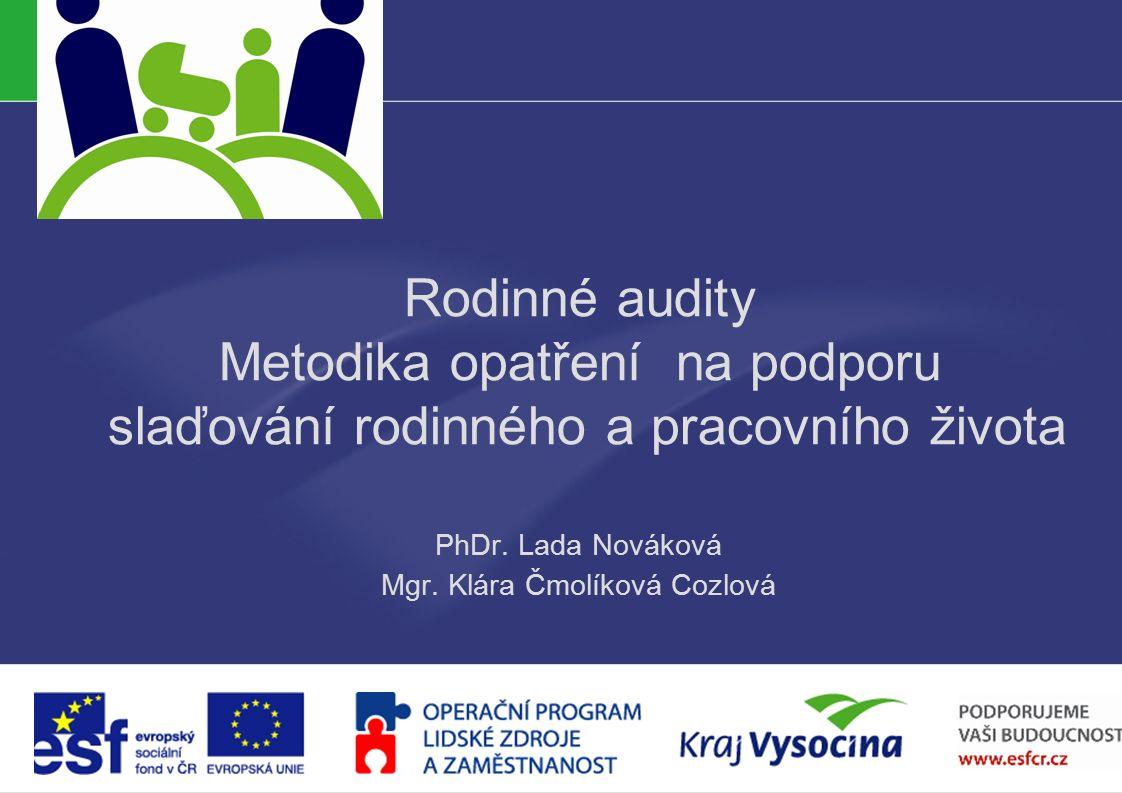 PREZENTUJÍCÍ Rodinné audity Metodika opatření na podporu slaďování rodinného a pracovního života PhDr.