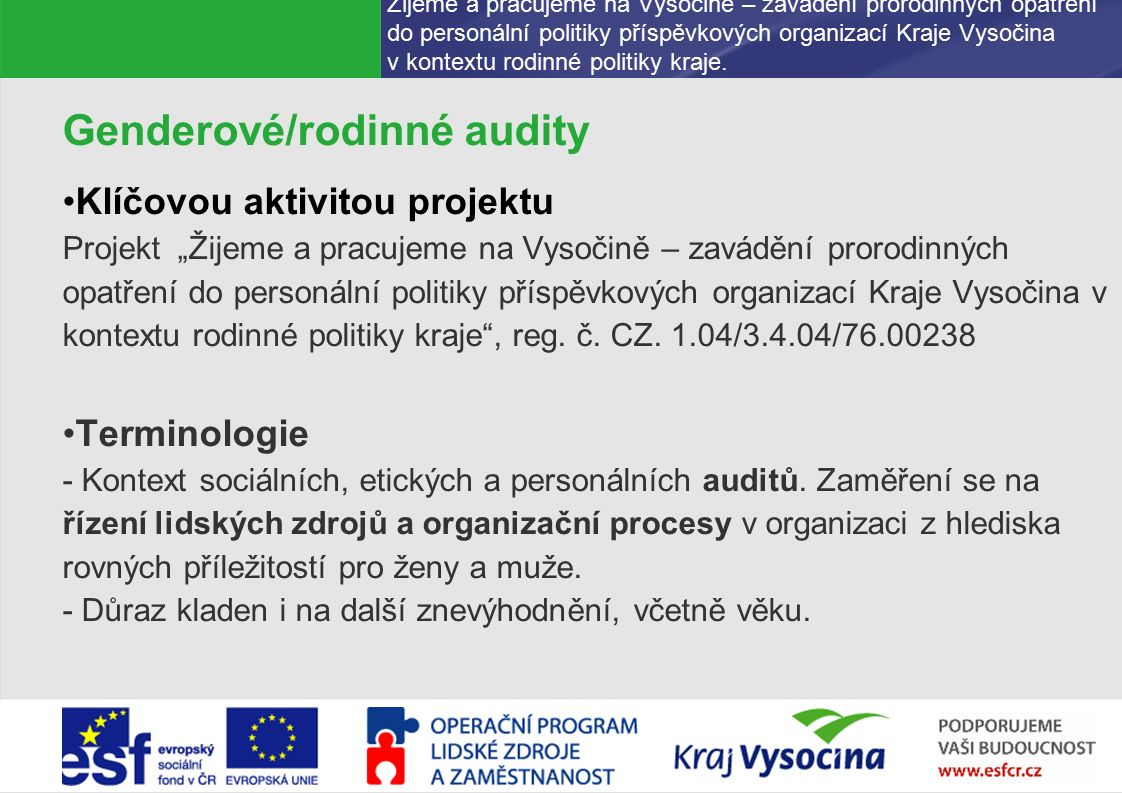 PREZENTUJÍCÍ229.9.2016 Žijeme a pracujeme na Vysočině – zavádění prorodinných opatření do personální politiky příspěvkových organizací Kraje Vysočina v kontextu rodinné politiky kraje.