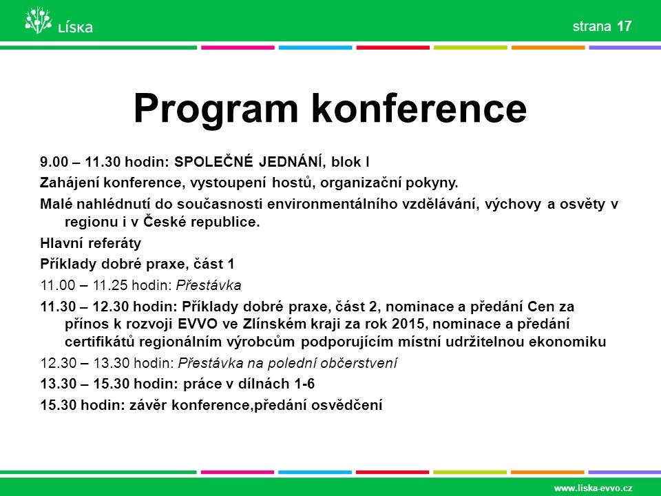 Program konference 9.00 – 11.30 hodin: SPOLEČNÉ JEDNÁNÍ, blok I Zahájení konference, vystoupení hostů, organizační pokyny. Malé nahlédnutí do současno