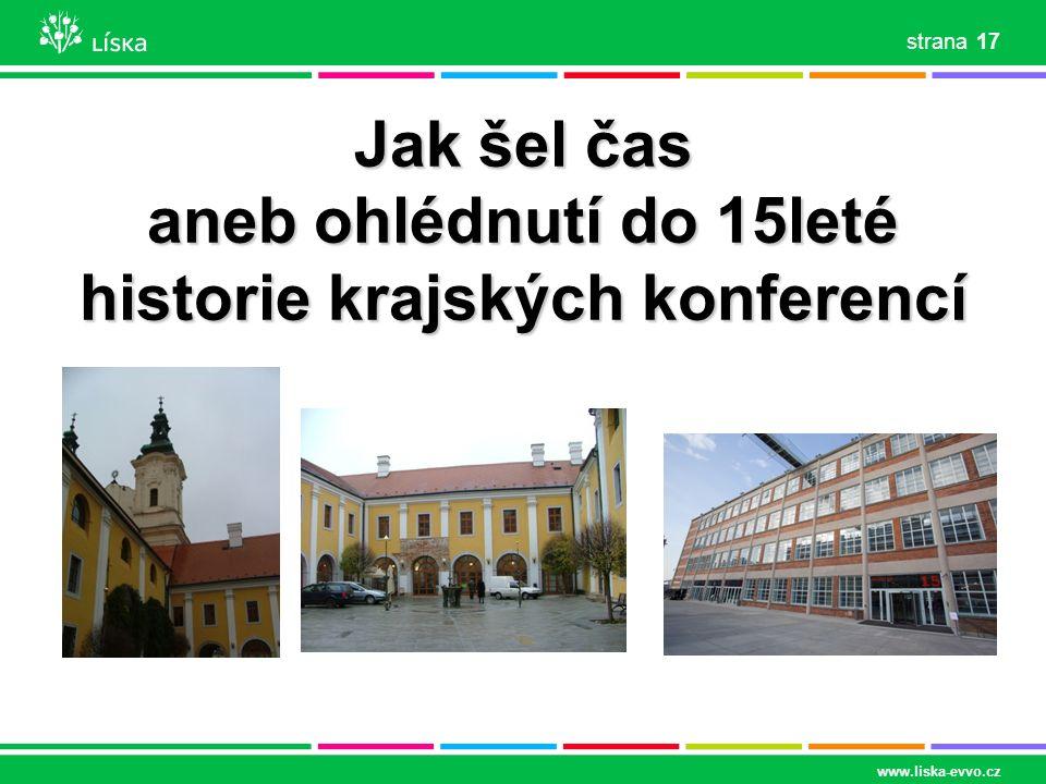 www.liska-evvo.cz 17 strana Jak šel čas aneb ohlédnutí do 15leté historie krajských konferencí