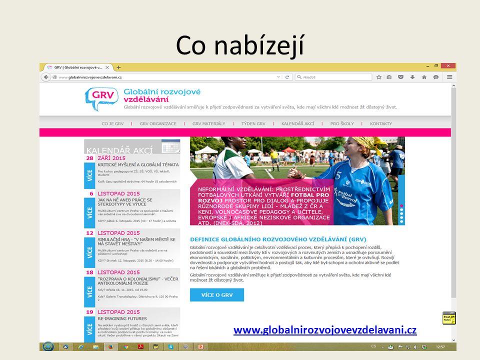 Co nabízejí www.globalnirozvojovevzdelavani.cz