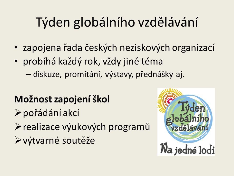 Týden globálního vzdělávání zapojena řada českých neziskových organizací probíhá každý rok, vždy jiné téma – diskuze, promítání, výstavy, přednášky aj.
