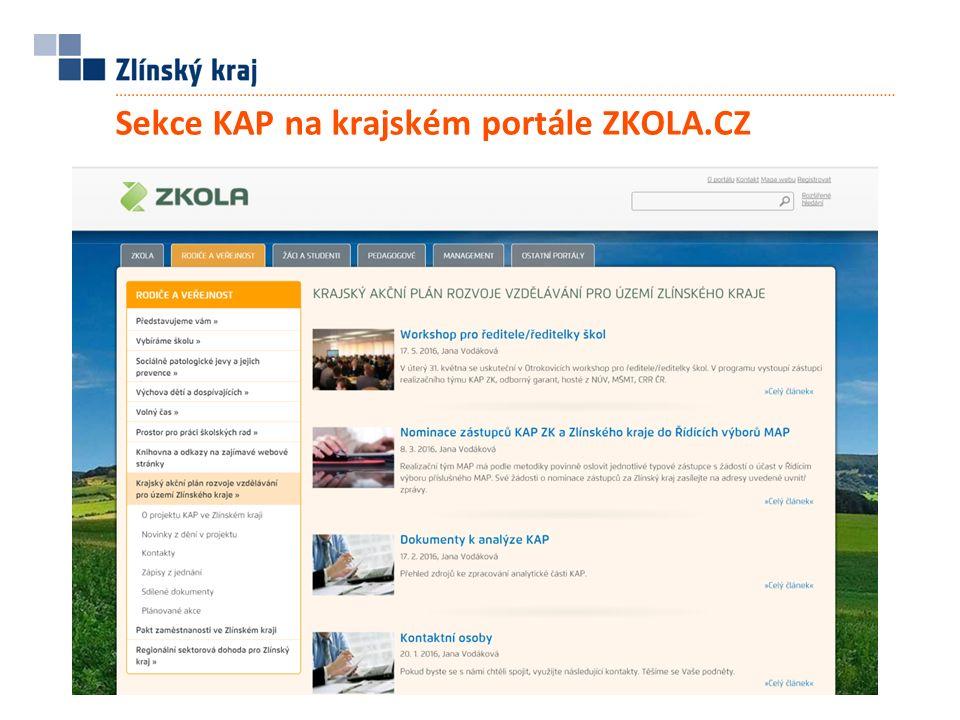 Sekce KAP na krajském portále ZKOLA.CZ