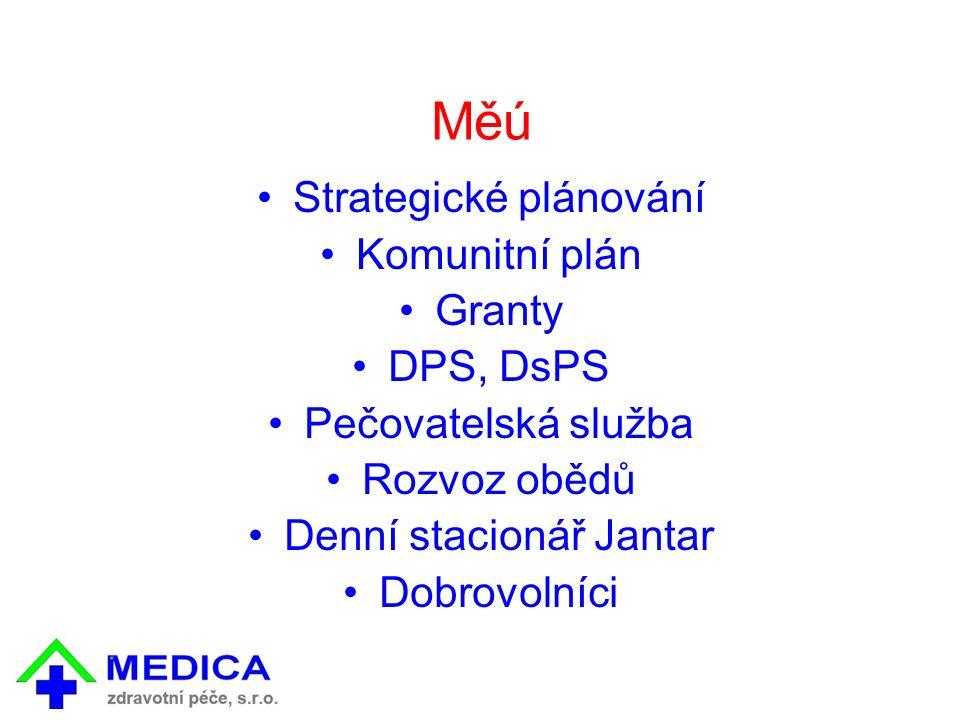 Měú Strategické plánování Komunitní plán Granty DPS, DsPS Pečovatelská služba Rozvoz obědů Denní stacionář Jantar Dobrovolníci