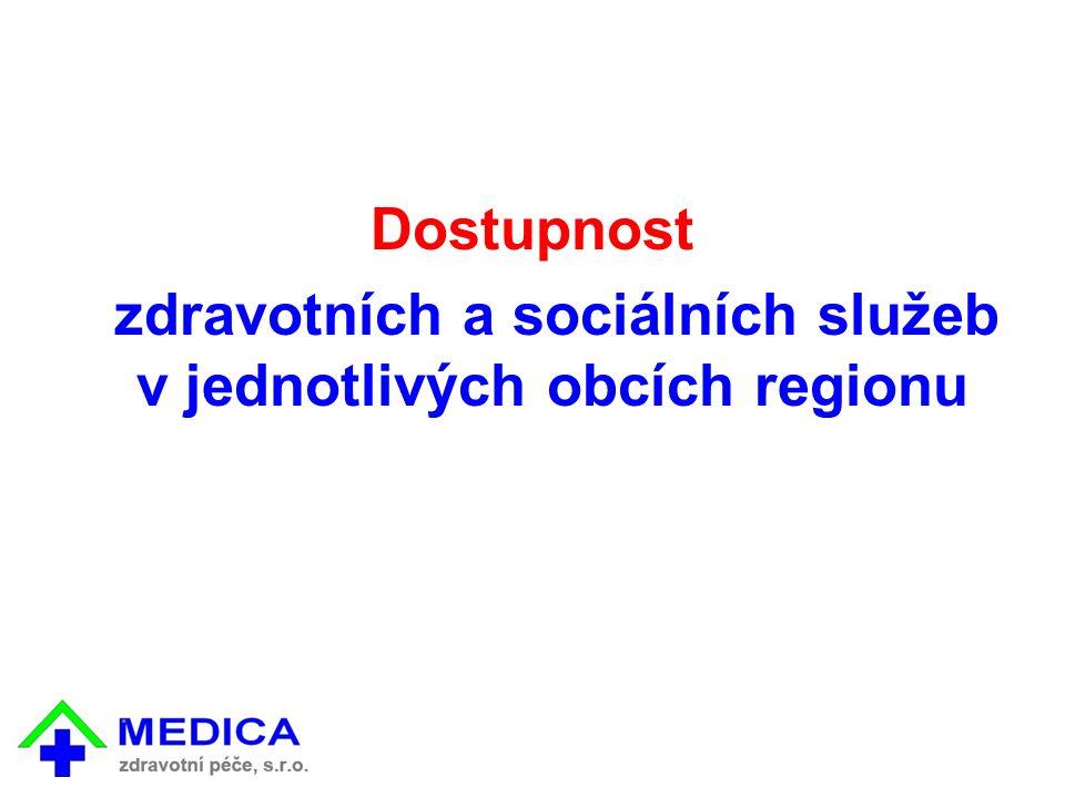 Dostupnost zdravotních a sociálních služeb v jednotlivých obcích regionu