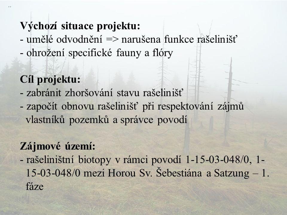 Výchozí situace projektu: - umělé odvodnění => narušena funkce rašelinišť - ohrožení specifické fauny a flóry Cíl projektu: - zabránit zhoršování stavu rašelinišť - započít obnovu rašelinišť při respektování zájmů vlastníků pozemků a správce povodí Zájmové území: - rašeliništní biotopy v rámci povodí 1-15-03-048/0, 1- 15-03-048/0 mezi Horou Sv.