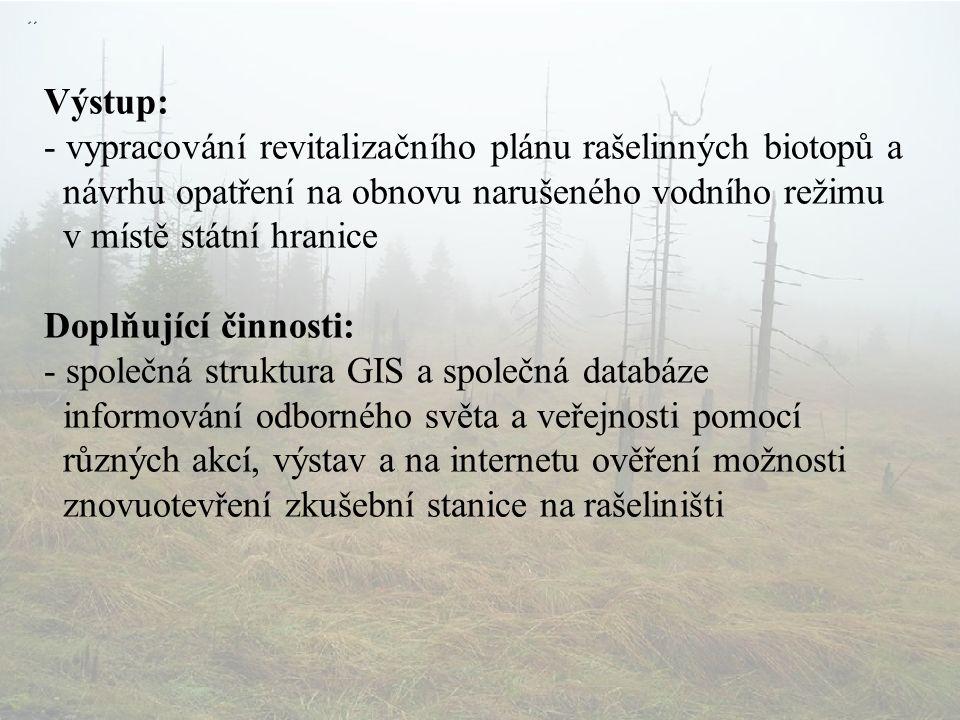Výstup: - vypracování revitalizačního plánu rašelinných biotopů a návrhu opatření na obnovu narušeného vodního režimu v místě státní hranice Doplňující činnosti: - společná struktura GIS a společná databáze informování odborného světa a veřejnosti pomocí různých akcí, výstav a na internetu ověření možnosti znovuotevření zkušební stanice na rašeliništi