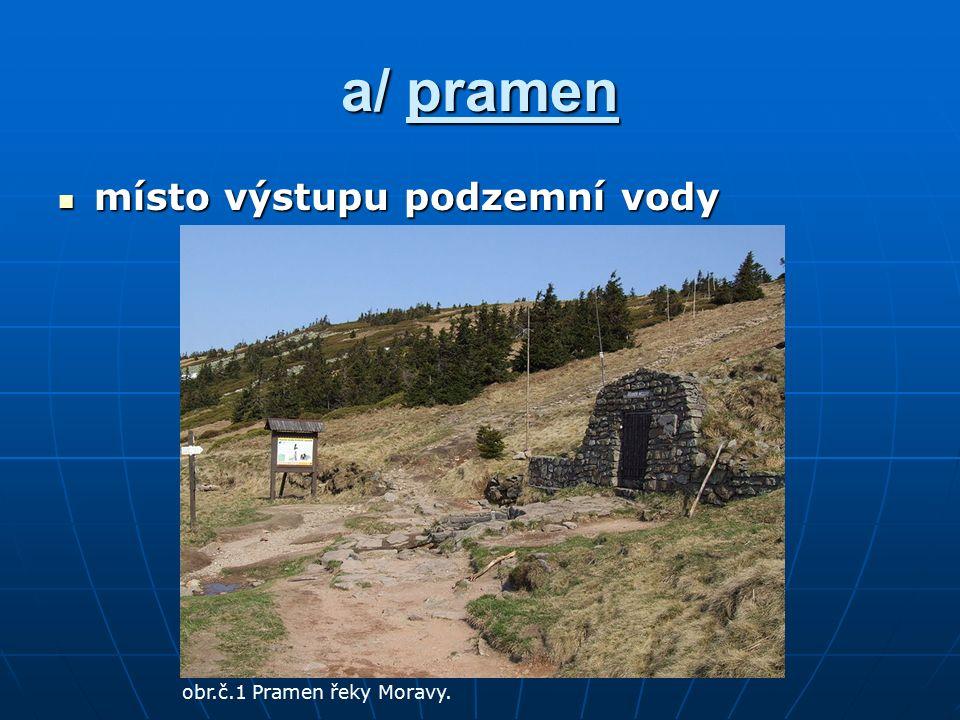 a/ pramen místo výstupu podzemní vody místo výstupu podzemní vody obr.č.1 Pramen řeky Moravy.