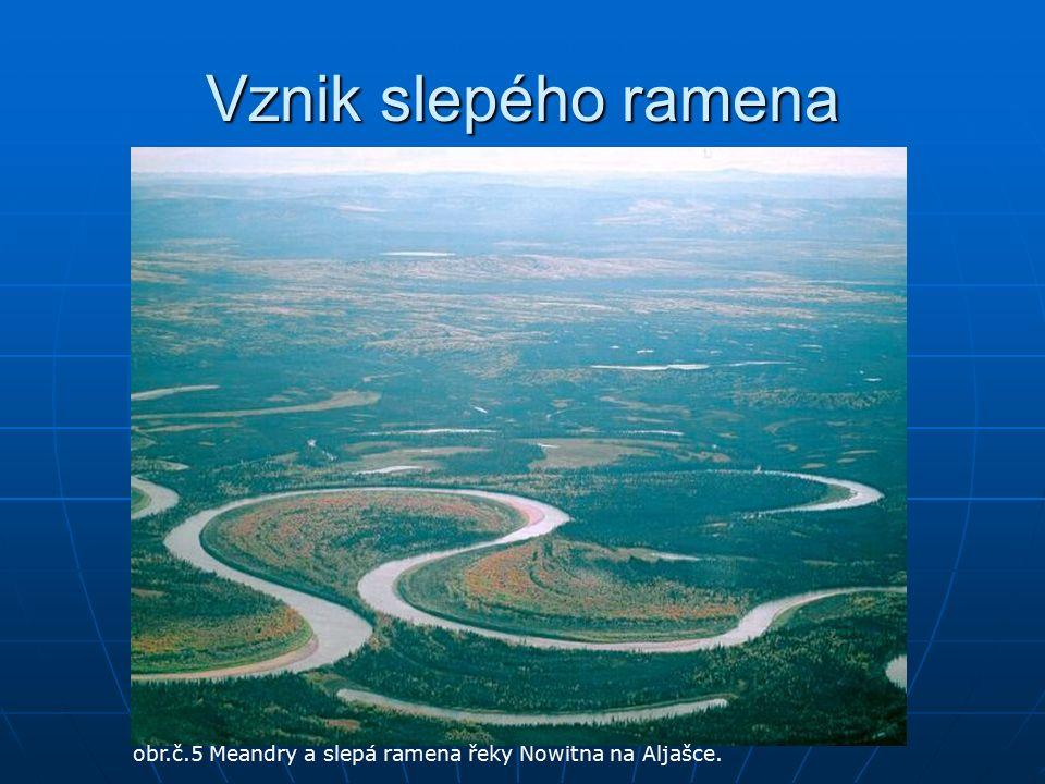 Vznik slepého ramena obr.č.5 Meandry a slepá ramena řeky Nowitna na Aljašce.