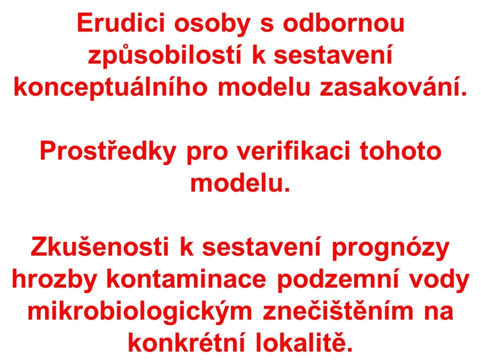 Erudici osoby s odbornou způsobilostí k sestavení konceptuálního modelu zasakování.