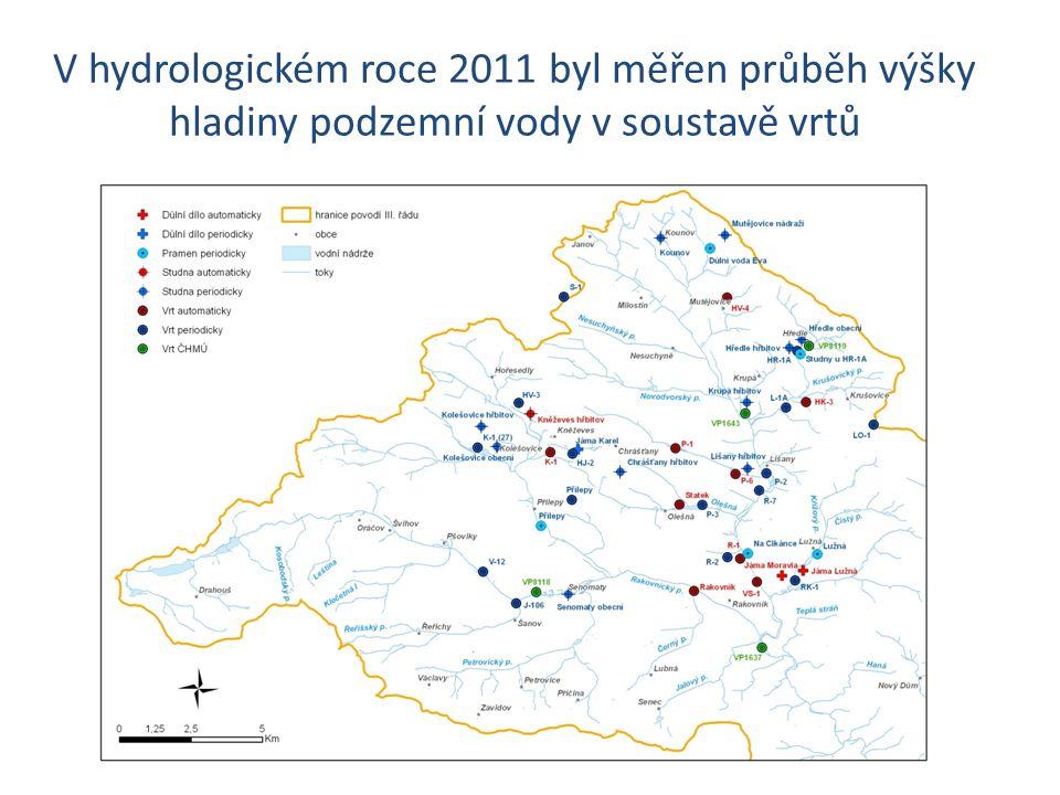 V hydrologickém roce 2011 byl měřen průběh výšky hladiny podzemní vody v soustavě vrtů