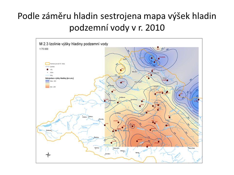 Podle záměru hladin sestrojena mapa výšek hladin podzemní vody v r. 2010