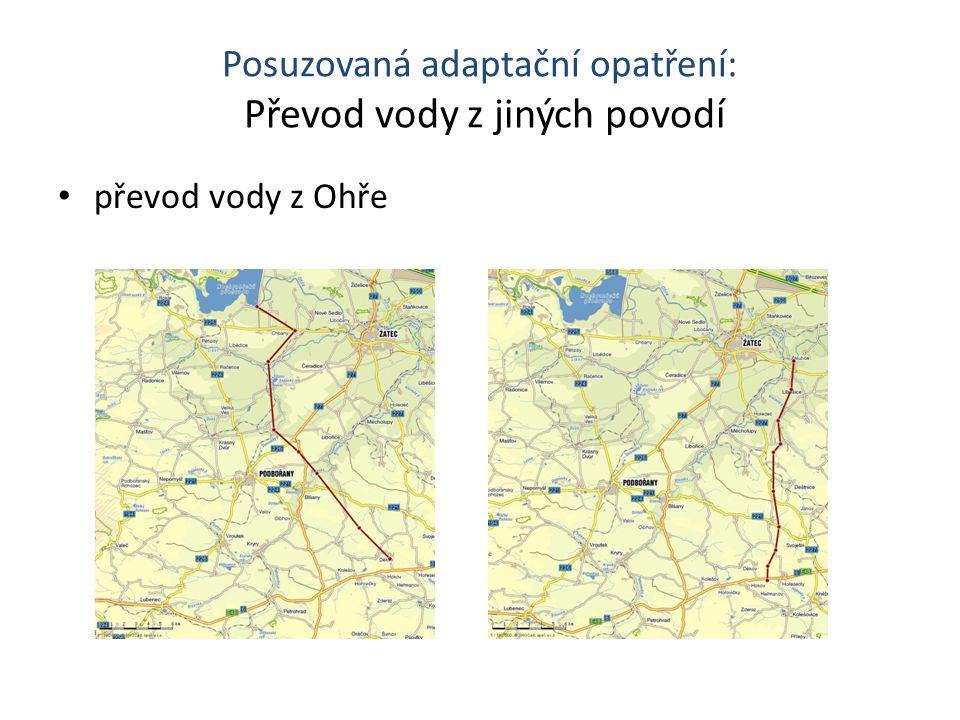 Posuzovaná adaptační opatření: Převod vody z jiných povodí převod vody z Ohře