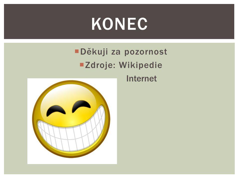  Děkuji za pozornost  Zdroje: Wikipedie Internet KONEC