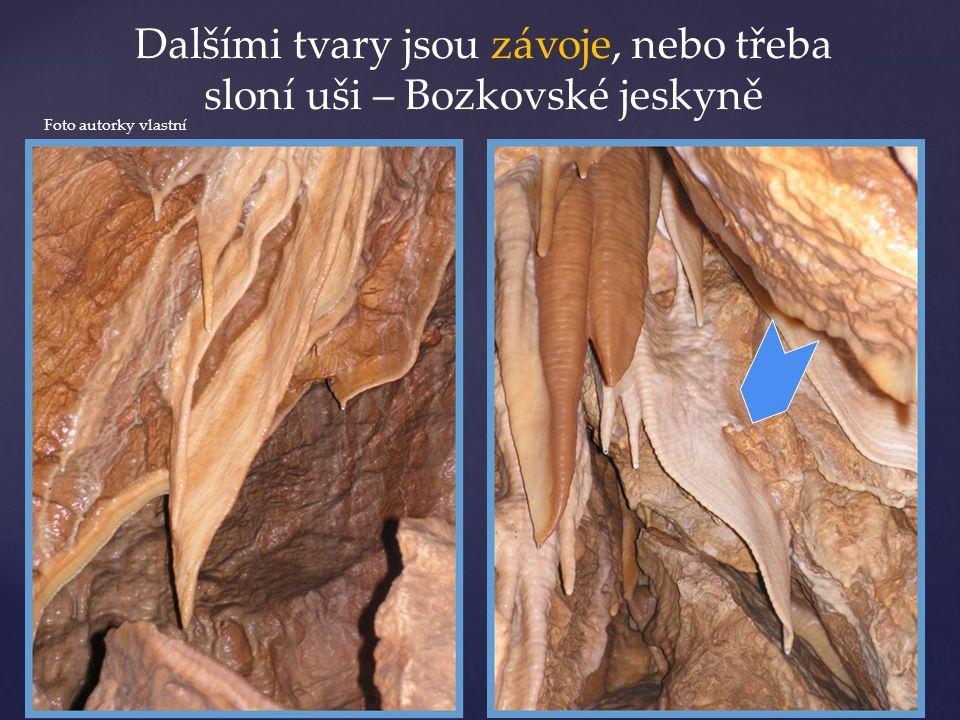 Dalšími tvary jsou závoje, nebo třeba sloní uši – Bozkovské jeskyně Foto autorky vlastní