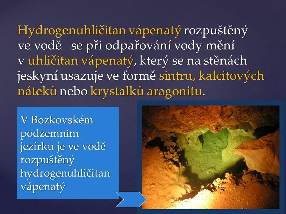 Hydrogenuhličitan vápenatý rozpuštěný ve vodě se při odpařování vody mění v uhličitan vápenatý, který se na stěnách jeskyní usazuje ve formě sintru, kalcitových náteků nebo krystalků aragonitu.