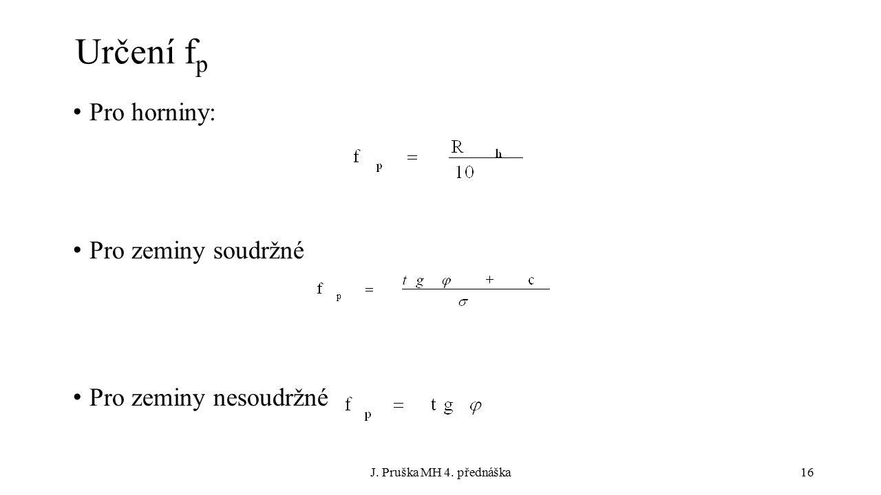 J. Pruška MH 4. přednáška16 Určení f p Pro horniny: Pro zeminy soudržné Pro zeminy nesoudržné