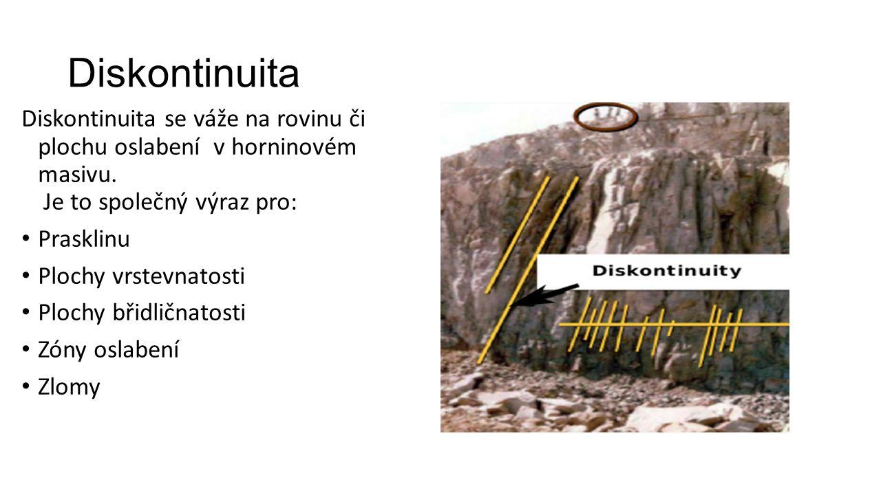 Diskontinuita Diskontinuita se váže na rovinu či plochu oslabení v horninovém masivu.