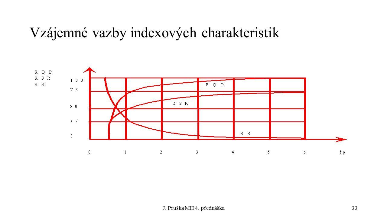 J. Pruška MH 4. přednáška33 Vzájemné vazby indexových charakteristik