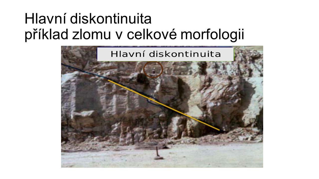 Hlavní diskontinuita příklad zlomu v celkové morfologii
