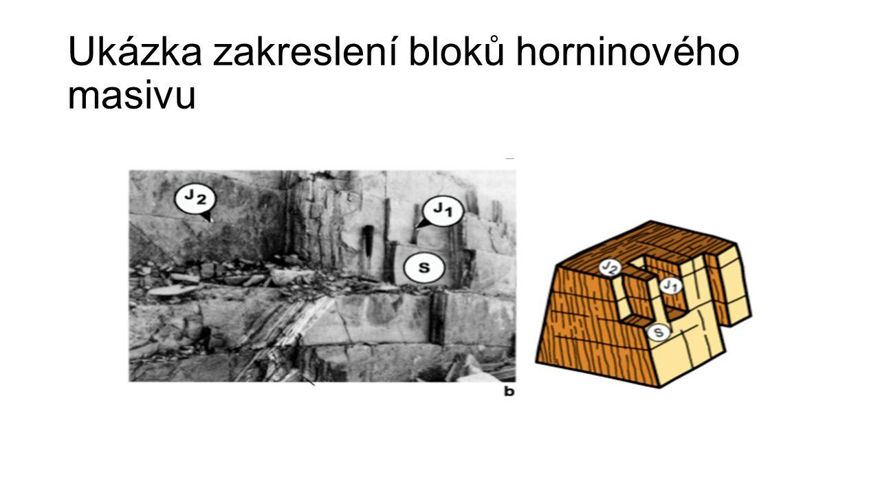 Ukázka zakreslení bloků horninového masivu