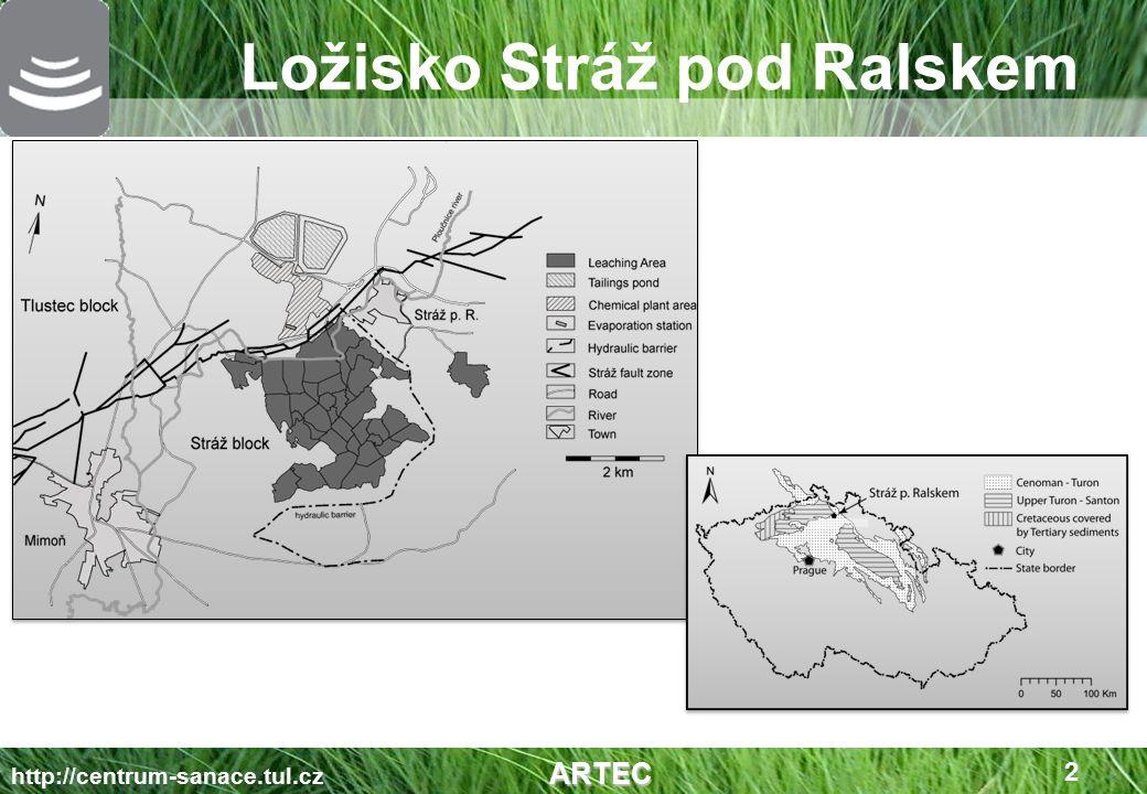 uranové ložisko (mineralizace U-Zr-Ti-P) chemická těžba (1968 – 1996) cca 10 000 vrtů, průměrná hloubka vrtu 220 m, 35 vyluhovacích polí na ploše 24 km 2 těžba pomocí kyselinového loužení (H 2 SO 4 – 4 mil.