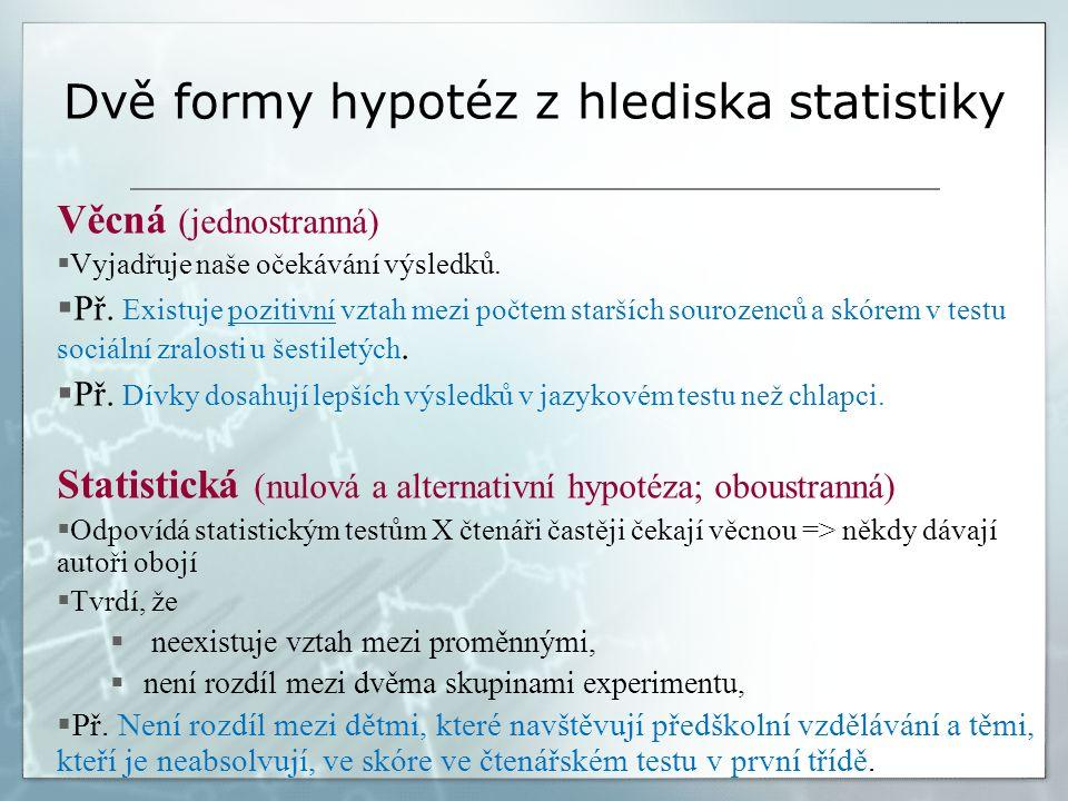 Dvě formy hypotéz z hlediska statistiky Věcná (jednostranná)  Vyjadřuje naše očekávání výsledků.  Př. Existuje pozitivní vztah mezi počtem starších