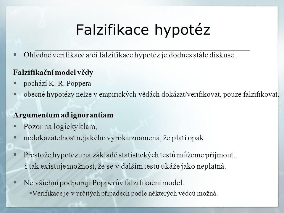 Falzifikace hypotéz  Ohledně verifikace a/či falzifikace hypotéz je dodnes stále diskuse. Falzifikační model vědy  pochází K. R. Poppera  obecné hy