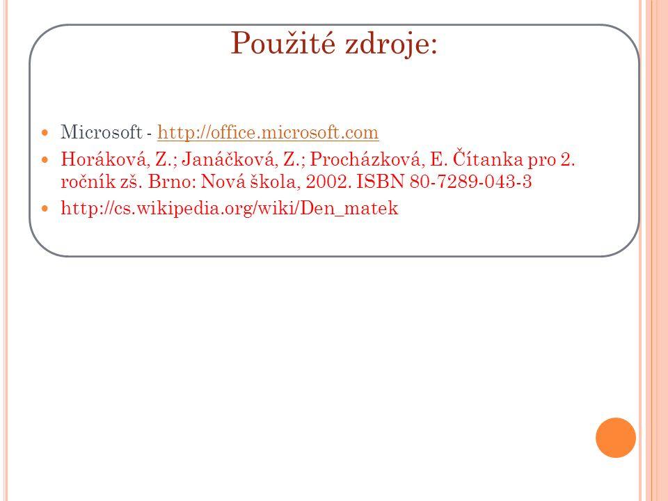 Použité zdroje: Microsoft - http://office.microsoft.comhttp://office.microsoft.com Horáková, Z.; Janáčková, Z.; Procházková, E.