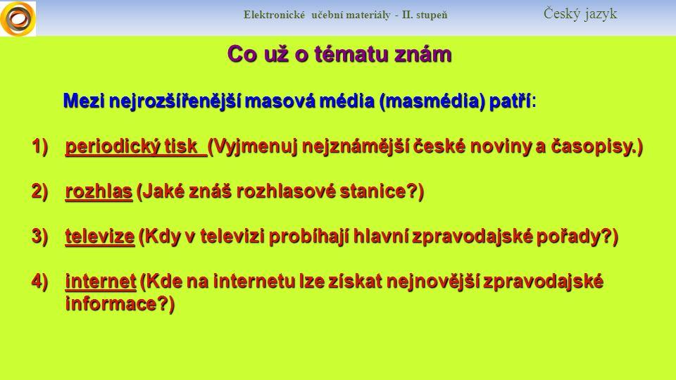 Elektronické učební materiály - II.stupeň Český jazyk Jaké si řekneme nové termíny.