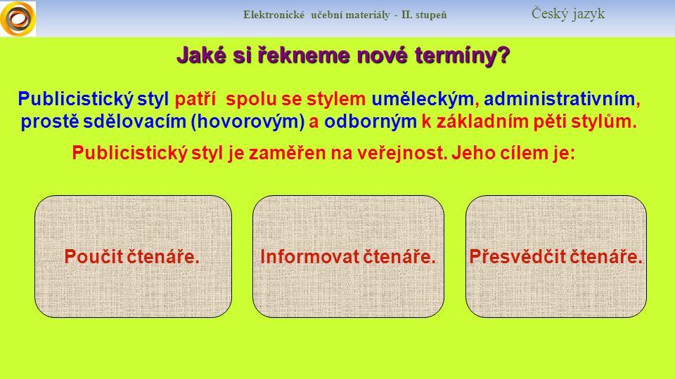 Elektronické učební materiály - II. stupeň Český jazyk Jaké si řekneme nové termíny.