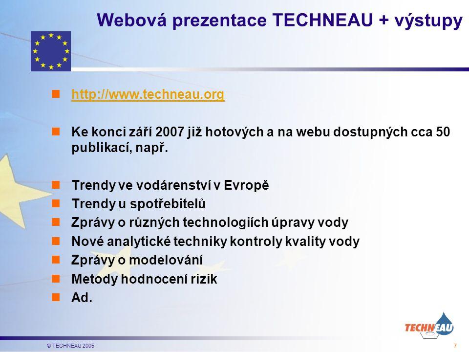 © TECHNEAU 2005 7 Webová prezentace TECHNEAU + výstupy http://www.techneau.org Ke konci září 2007 již hotových a na webu dostupných cca 50 publikací, např.