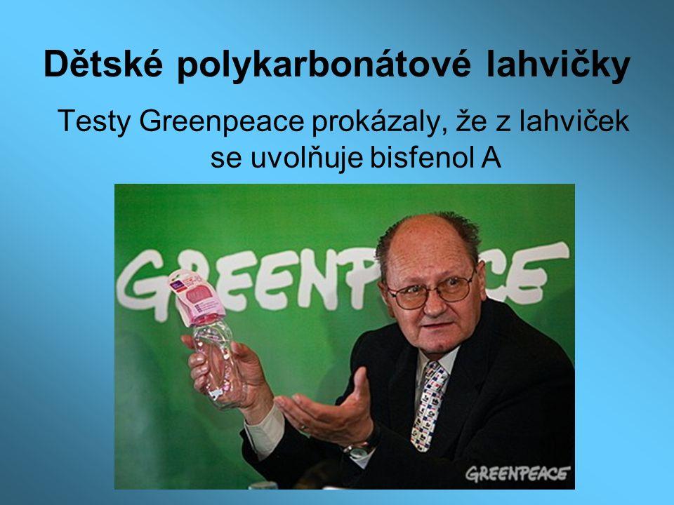 Dětské polykarbonátové lahvičky Testy Greenpeace prokázaly, že z lahviček se uvolňuje bisfenol A
