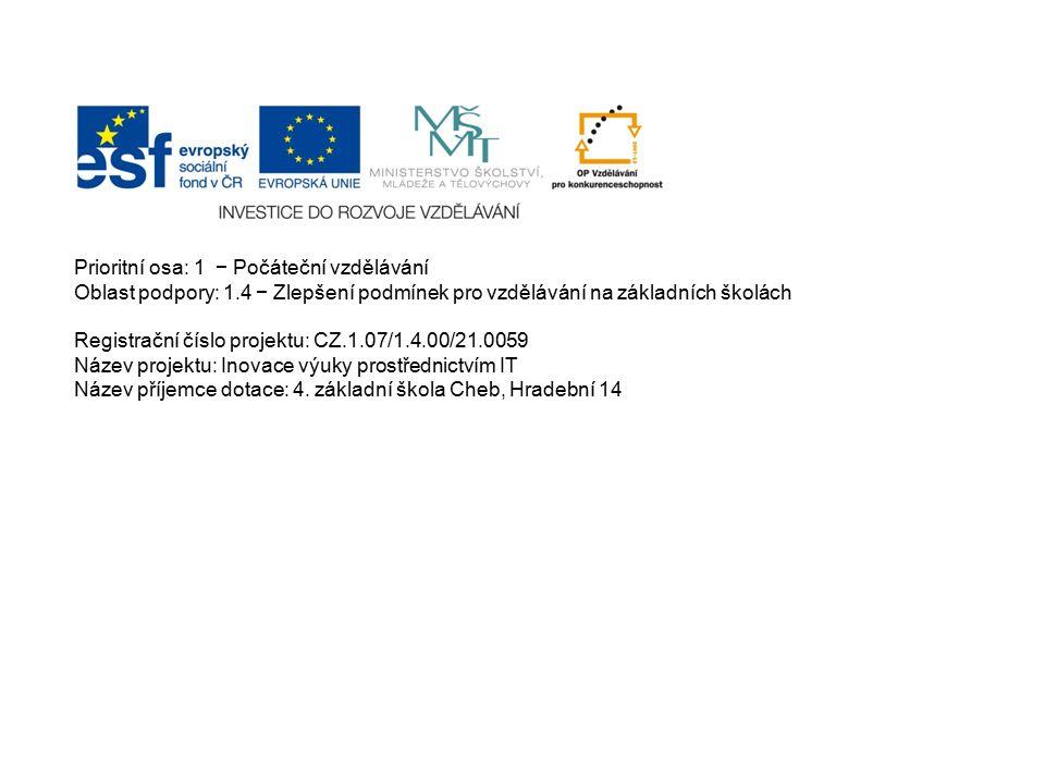 Prioritní osa: 1 − Počáteční vzdělávání Oblast podpory: 1.4 − Zlepšení podmínek pro vzdělávání na základních školách Registrační číslo projektu: CZ.1.07/1.4.00/21.0059 Název projektu: Inovace výuky prostřednictvím IT Název příjemce dotace: 4.