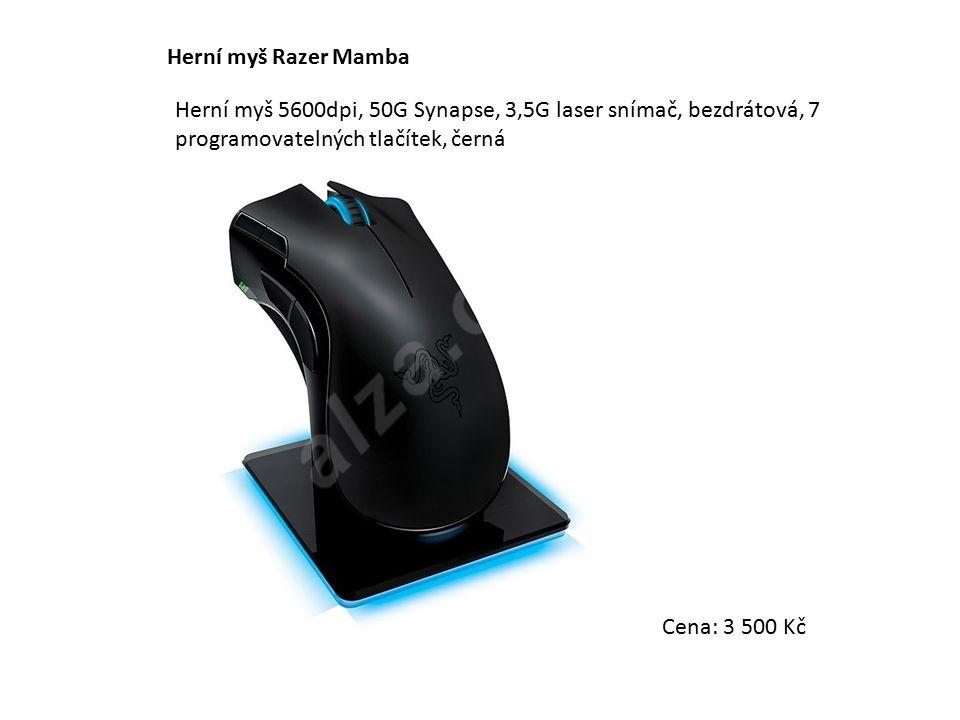 Herní myš Razer Mamba Herní myš 5600dpi, 50G Synapse, 3,5G laser snímač, bezdrátová, 7 programovatelných tlačítek, černá Cena: 3 500 Kč