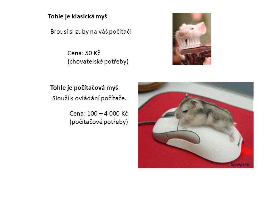 Tohle je klasická myš Cena: 50 Kč (chovatelské potřeby) Brousí si zuby na váš počítač.