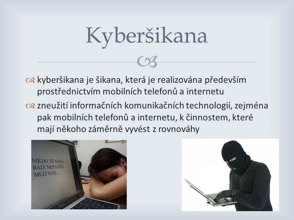   kyberšikana je šikana, která je realizována především prostřednictvím mobilních telefonů a internetu  zneužití informačních komunikačních technologií, zejména pak mobilních telefonů a internetu, k činnostem, které mají někoho záměrně vyvést z rovnováhy Kyberšikana