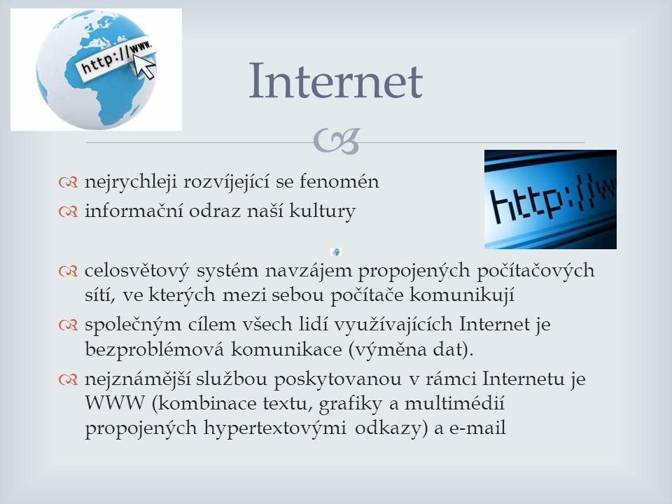   nejrychleji rozvíjející se fenomén  informační odraz naší kultury  celosvětový systém navzájem propojených počítačových sítí, ve kterých mezi sebou počítače komunikují  společným cílem všech lidí využívajících Internet je bezproblémová komunikace (výměna dat).