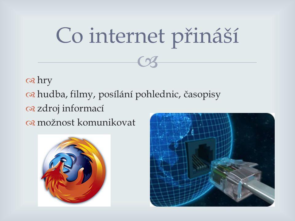   hry  hudba, filmy, posílání pohlednic, časopisy  zdroj informací  možnost komunikovat Co internet přináší