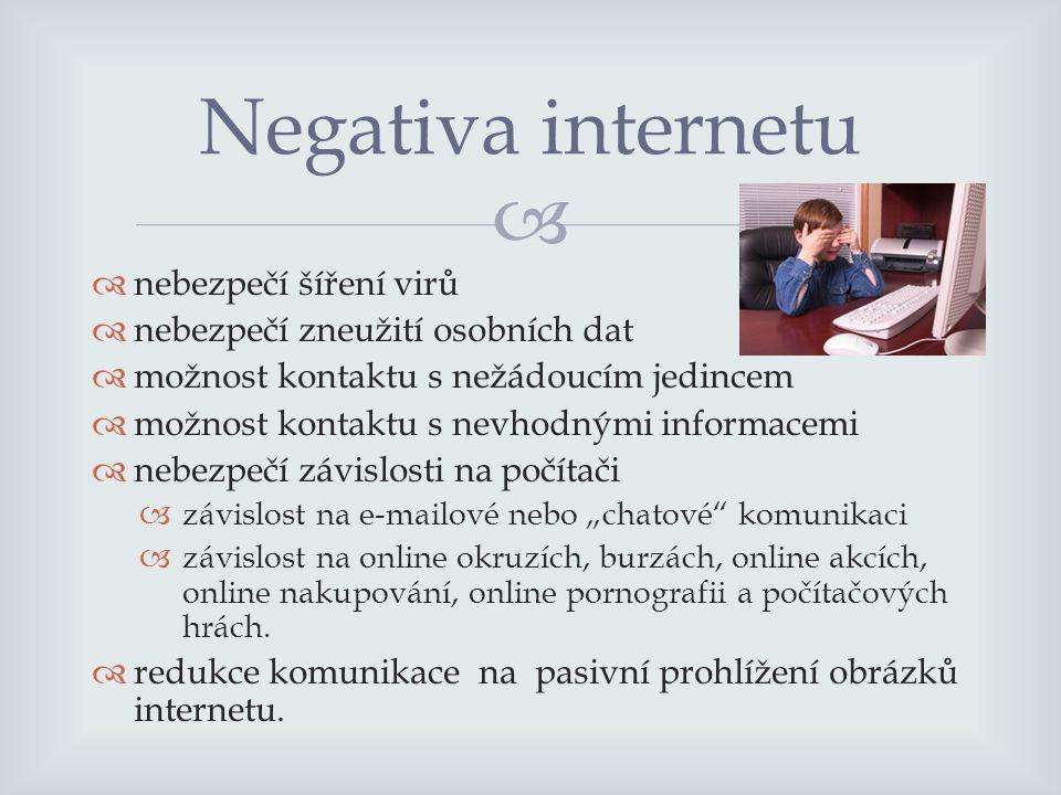 """  nebezpečí šíření virů  nebezpečí zneužití osobních dat  možnost kontaktu s nežádoucím jedincem  možnost kontaktu s nevhodnými informacemi  nebezpečí závislosti na počítači  závislost na e-mailové nebo """"chatové komunikaci  závislost na online okruzích, burzách, online akcích, online nakupování, online pornografii a počítačových hrách."""