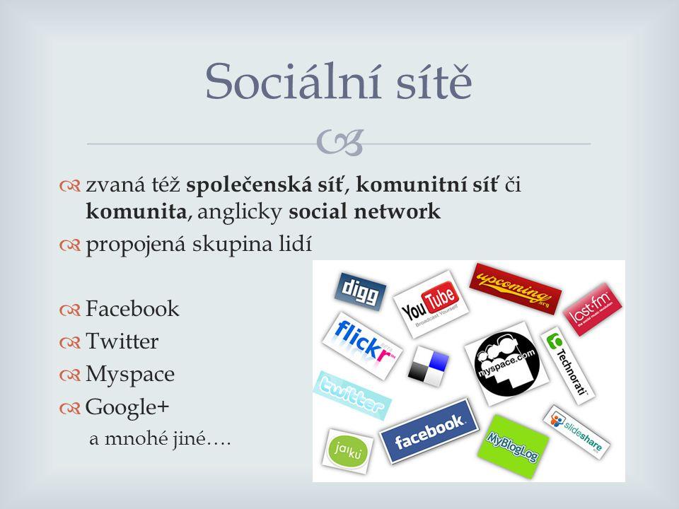   zvaná též společenská síť, komunitní síť či komunita, anglicky social network  propojená skupina lidí  Facebook  Twitter  Myspace  Google+ a mnohé jiné….