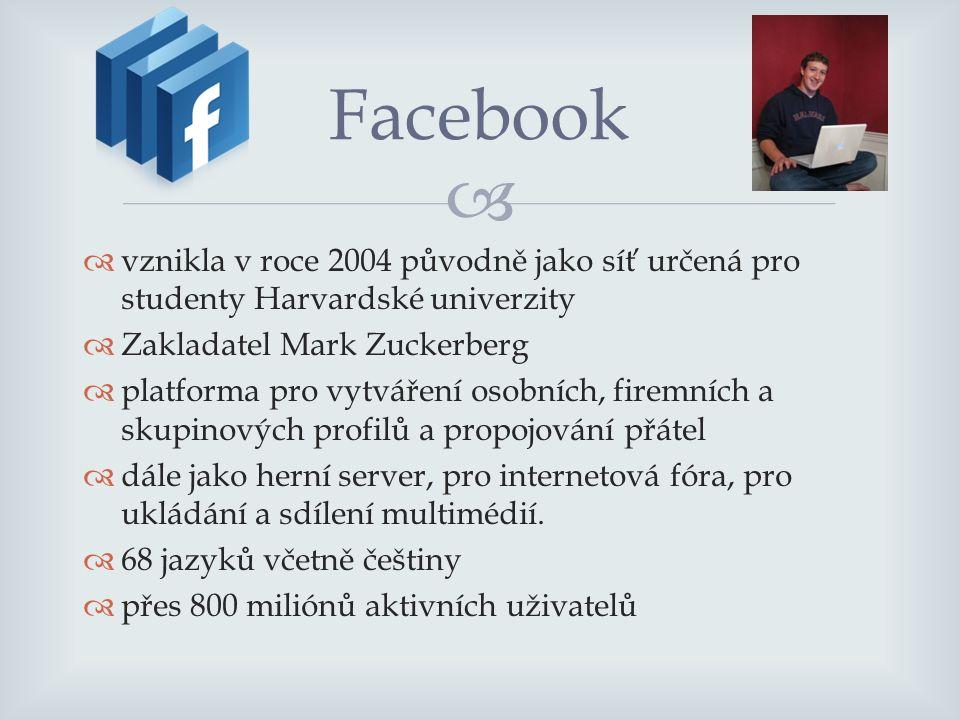   vznikla v roce 2004 původně jako síť určená pro studenty Harvardské univerzity  Zakladatel Mark Zuckerberg  platforma pro vytváření osobních, firemních a skupinových profilů a propojování přátel  dále jako herní server, pro internetová fóra, pro ukládání a sdílení multimédií.