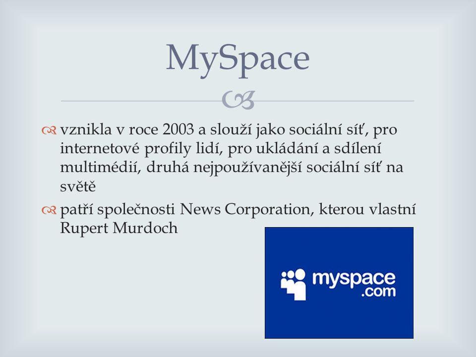   vznikla v roce 2003 a slouží jako sociální síť, pro internetové profily lidí, pro ukládání a sdílení multimédií, druhá nejpoužívanější sociální síť na světě  patří společnosti News Corporation, kterou vlastní Rupert Murdoch MySpace