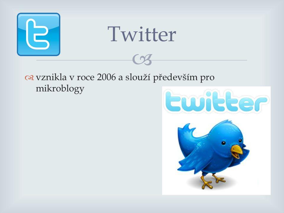   vznikla v roce 2006 a slouží především pro mikroblogy Twitter