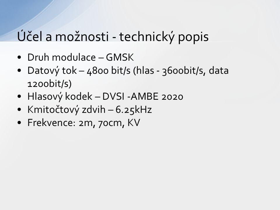 Druh modulace – GMSK Datový tok – 4800 bit/s (hlas - 3600bit/s, data 1200bit/s) Hlasový kodek – DVSI -AMBE 2020 Kmitočtový zdvih – 6.25kHz Frekvence: 2m, 70cm, KV Účel a možnosti - technický popis