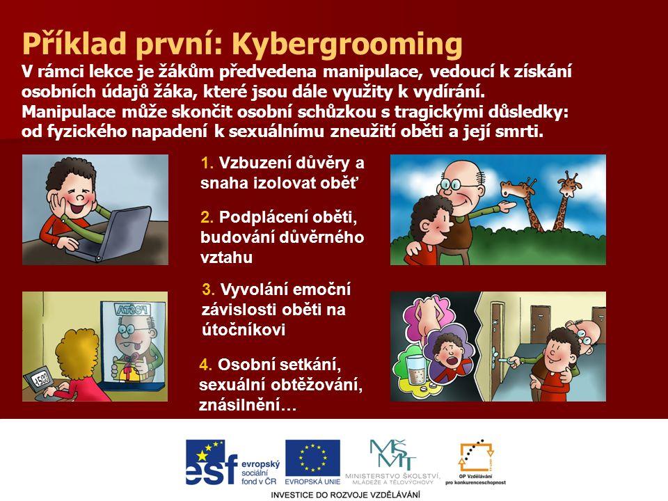 Příklad první: Kybergrooming V rámci lekce je žákům předvedena manipulace, vedoucí k získání osobních údajů žáka, které jsou dále využity k vydírání.