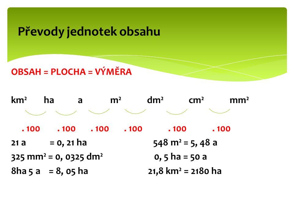 OBSAH = PLOCHA = VÝMĚRA km² ha a m² dm² cm² mm². 100.