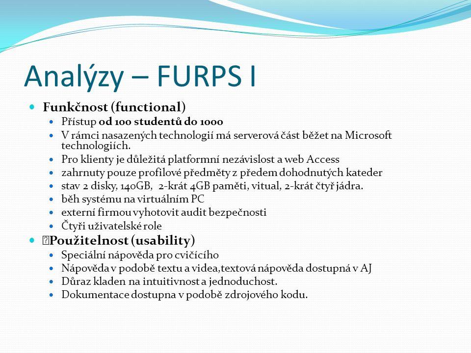 Analýzy – FURPS I Funkčnost (functional) Přístup od 100 studentů do 1000 V rámci nasazených technologií má serverová část běžet na Microsoft technologiích.