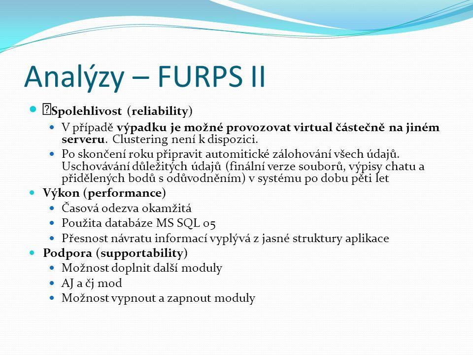 Analýzy – FURPS II Spolehlivost (reliability) V případě výpadku je možné provozovat virtual částečně na jiném serveru.